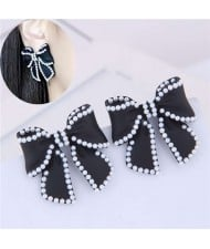 Korean Fashion Bowknot Design Oil-spot Glazed Alloy Women Earrings - Black