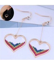 Multi-color Rhinestone Decorated Sweet Hollow Heart Design Women Alloy Fashion Earrings