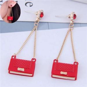 Rhinestone Embellished Korean Fashion Dangling Handbag Design Women Alloy Earrings - Red