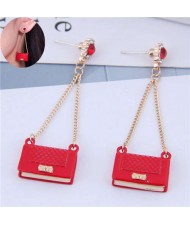 Rhinestone Embellished Korean Fashion Dangling Handbag Design Women Alloy Earrings - Red