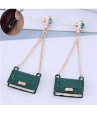 Rhinestone Embellished Korean Fashion Dangling Handbag Design Women Alloy Earrings - Green
