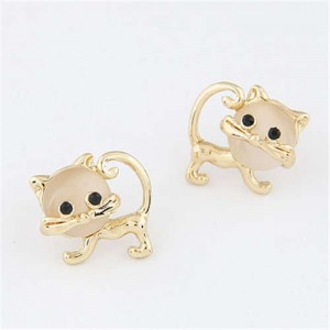 Opal Golden Cat Design Korean Fashion Women Earrings