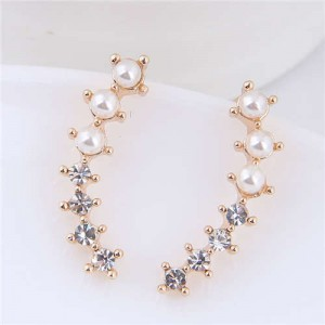 Rhinestone and Pearl Elegant Leaf Style High Fashion Women Earrings