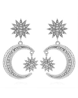 Rhinestone Embellished Moon and Star High Fashion Women Statement Earrings - Silver