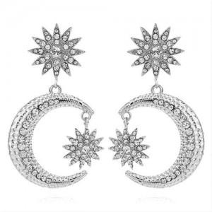 Rhinestone Embellished Moon and Star High Fashion Women Statement Earrings - Silver