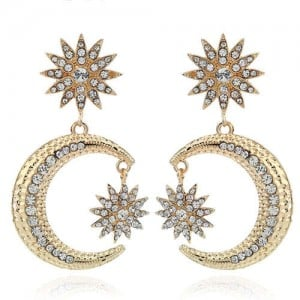 Rhinestone Embellished Moon and Star High Fashion Women Statement Earrings - Golden