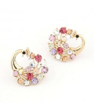 Czeche Rhinestone Embellished Colorful Peacock Design Korean Fashion Women Alloy Earrings