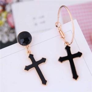 Black Oil-spot Glazed Cross Design Asymmetric Women Costume Earrings