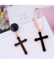 Black Oil-spot Glazed Cross Design Asymmetric Women Costume Earrings