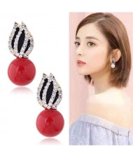 Rhinestone Embellished Artificial Pearl Tulip Design Women Alloy Earrings - Red
