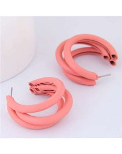 Fluorescent Color Semi-circle Design High Fashion Women Earrings - Orange