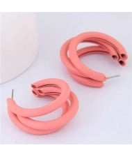 Fluorescent Color Semi-circle Design High Fashion Women Earrings - Orange