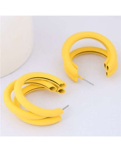 Fluorescent Color Semi-circle Design High Fashion Women Earrings - Yellow