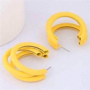 Fluorescent Color Semi-circle Design High Fashion Women Earrings - Yellow