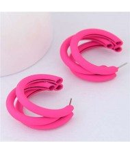 Fluorescent Color Semi-circle Design High Fashion Women Earrings - Pink