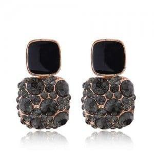 Black Czeche Rhinestone Inlaid Charming Sqaure Design Korean Fashion Women Alloy Earrings
