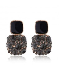 Black Czeche Rhinestone Inlaid Charming Sqaure Design Korean Fashion Women Alloy Earrings