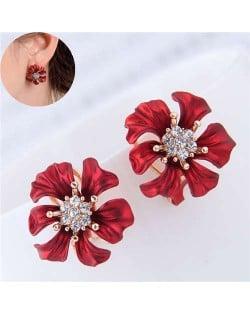 Rhinestone Prosperous Flower Glistening Style Women Fashion Statement Earrings