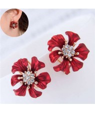 Rhinestone Prosperous Flower Glistening Style Women Fashion Statement Earrings
