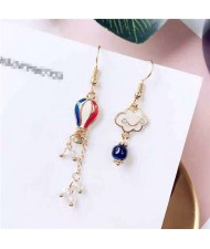 Korean Fashion Oil-spot Glazed Cloud and Balloon Asymmetric Design Dangling Women Earrings