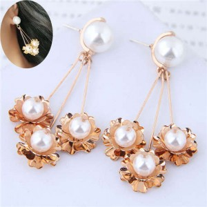Pearl Inlaid Golden Flowers Pendants Design Dangling Women Fashion Statement Earrings