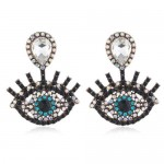 Vintage Design Rhinestone Eye Shape Design Women Fashion Statement Earrings