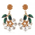Vintage Fashion Flower and Leaves Design Rhinestone Women Costume Earrings