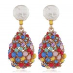 Colorful Gems and Rhinestone Vintage Waterdrop Design Women Alloy Fashion Earrings