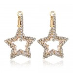 Rhinestone Hollow Star High Fashion Women Alloy Earrings - White