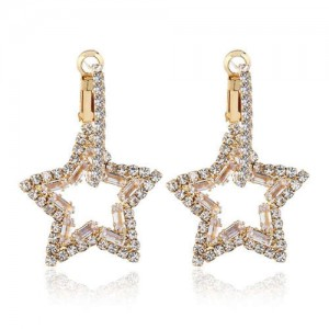 Rhinestone Hollow Star High Fashion Women Alloy Earrings - White