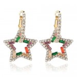 Rhinestone Hollow Star High Fashion Women Alloy Earrings - Multicolor