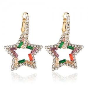 Rhinestone Hollow Star High Fashion Women Alloy Earrings - Multicolor