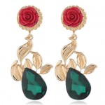Vintage Rose Floral Design Gem Fashion Women Statement Earrings