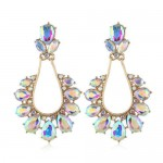 Rhinestone Vintage Waterdrops Design High Fashion Women Alloy Earrings - White