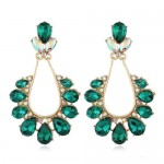 Rhinestone Vintage Waterdrops Design High Fashion Women Alloy Earrings - Green