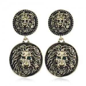 Vintage Round Shape Lion Heads Design Western Fashion Women Alloy Earrings