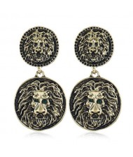 Vintage Round Shape Lion Heads Design Western Fashion Women Alloy Earrings