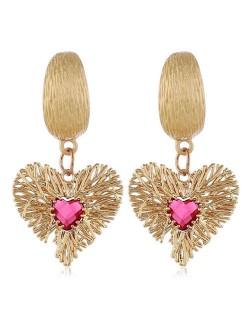Twig Heart Pendant Bold Fashion Women Alloy Earrings