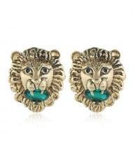 Western High Fashion Lion Head Design Women Statement Earrings - Green