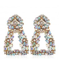 Rhinestone Floral Trapezoid Design High Fashion Women Alloy Earrings - White
