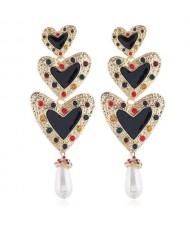 Triple Peach Hearts Dangling Fashion Women Statement Alloy Earrings