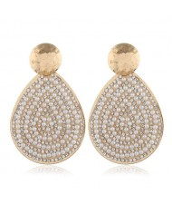 Rhinestone and Artificial Pearl Beads Inlaid Bold Waterdrop Shape Women Alloy Fashion Earrings