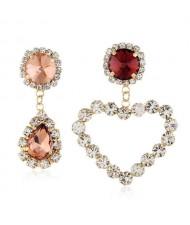 Shining Rhinestone Heart Asymmetric Design Wedding Fashion Women Alloy Earrings