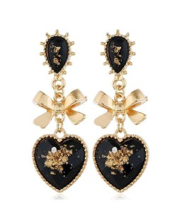 Vintage Style Golden Bowknot and Black Heart Design Women Alloy Statement Earrings