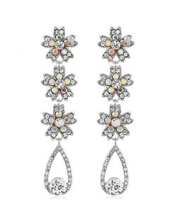 Shing Flowers Cluster and Waterdrop Dangling Fashion Women Alloy Earrings - Silver