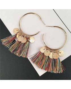Cotton Threads Tassel and Alloy Rounds Tassel Design Hoop Fashion Women Earrings - Multicolor