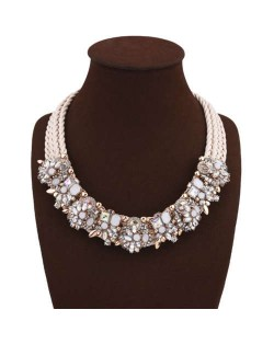 Glistening Rhinestone Floral Decorations Multi-layer Rope Fashion Women Statement Necklace - White