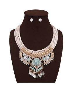 Bling Fashion Gem Inlaid Tassel Pendants Multi-layer Rope Women Statement Necklace and Earrings Set