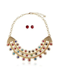 Glistening Rhinestone Embellished Hollow Arch Shape Pendant Alloy Women Fashion Necklace and Earrings Set - Multicolor