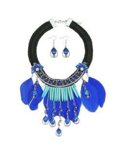 Rhinestone Embellished Blue Feather Tassel Weaving Rope High Fashion Women Necklace and Earrings Set